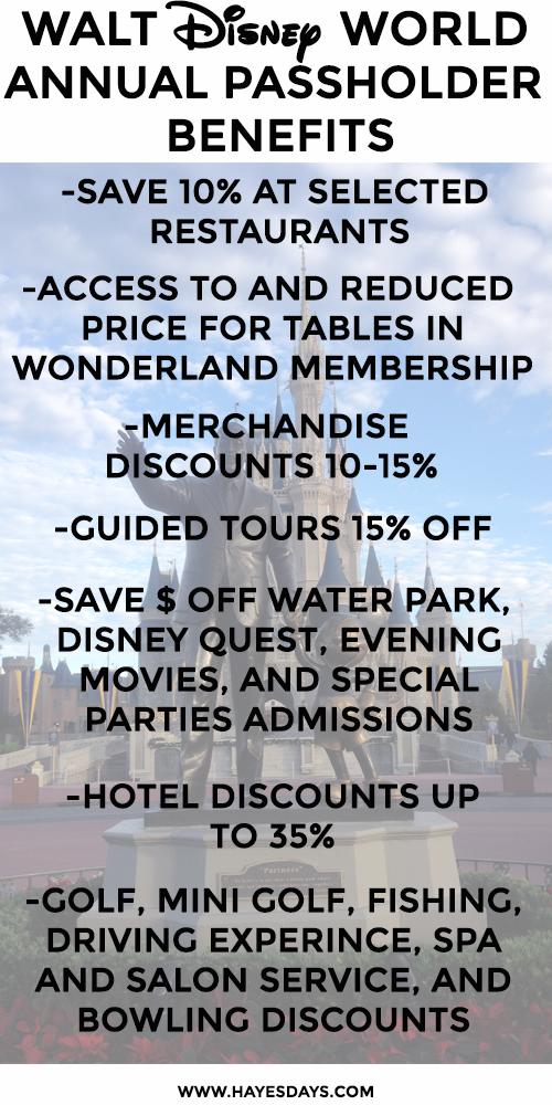Walt Disney World Annual Passholder Benefits ~ www.hayesdays.com